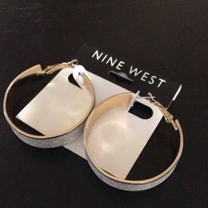Nine West silvery gold hoop earrings with clasp